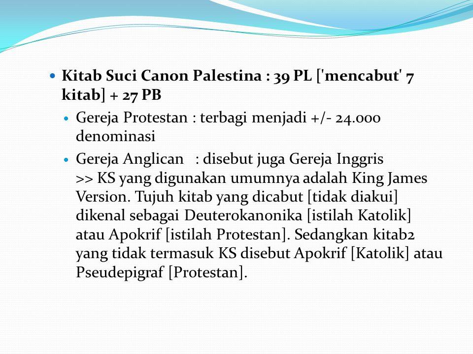 Kitab Suci Canon Palestina : 39 PL [ mencabut 7 kitab] + 27 PB